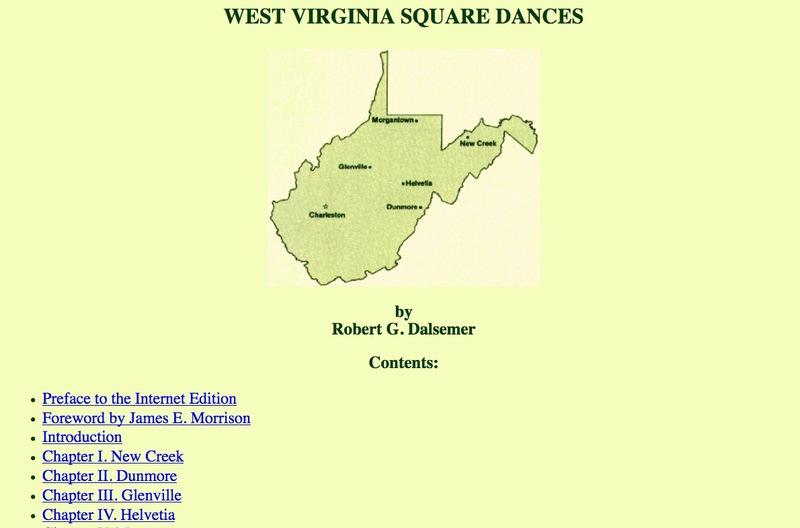 <em>West Virginia Square Dances</em> by Robert G. Dalsemer<em><br /></em>