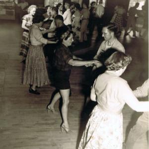 Round dancing at American squares school 1953.jpg